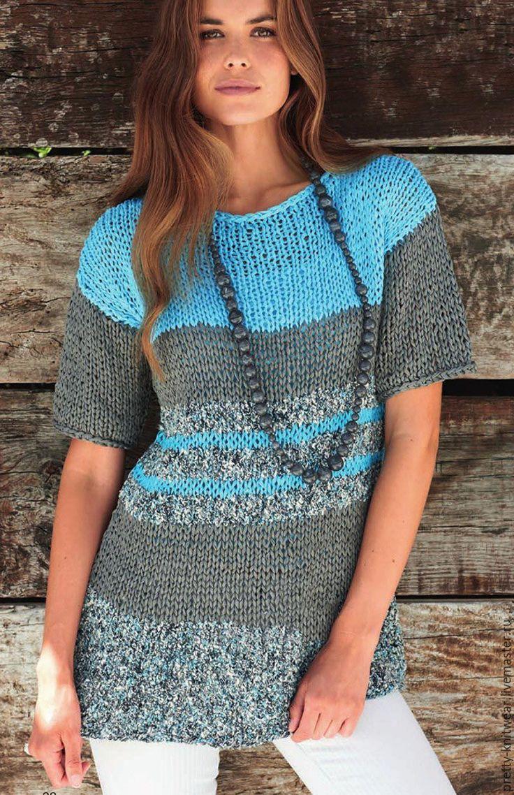 Купить Бирюзово-серый летний пуловер - бирюзовый, в полоску, пуловер, серый, летняя одежда, лен