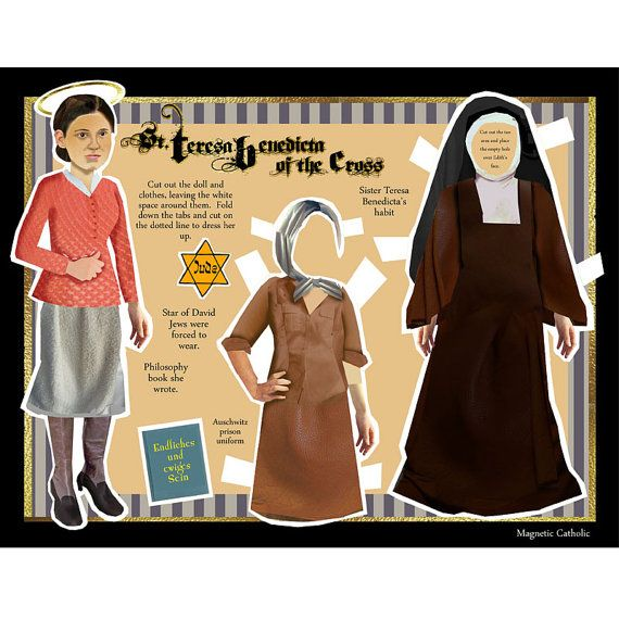 VENDITA San Teresa Benedicta della Croce: ebraico martire cattolica e Saint DIGITAL download bambola di carta fai da te