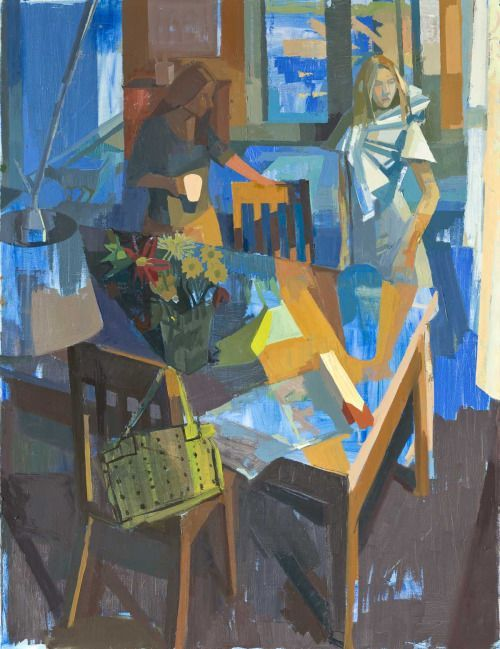 Susan Lichtman, Sisters at a Table, 2015, oil on canvas