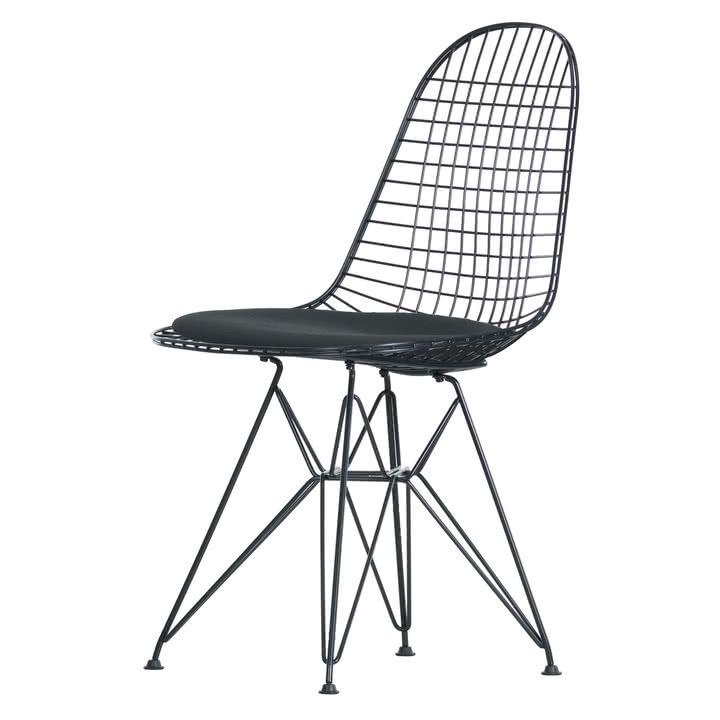 Vitra Wire Chair Dkr H 43 Cm Basic Dark Ohne Bezug Filzgleiter Basic Dark In 2019 Fur Jan Wire Chair Chair Charles Ray Eames