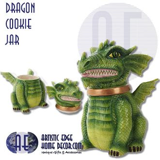 """Ceramic Dragon Cookie Jar   Very unusual and unique Dragon Cookie Jar!  Hand Painted.  Ceramic.  H: 9.5""""  W: 6.25""""  L: 7""""  What better animal to guard your cookies!"""
