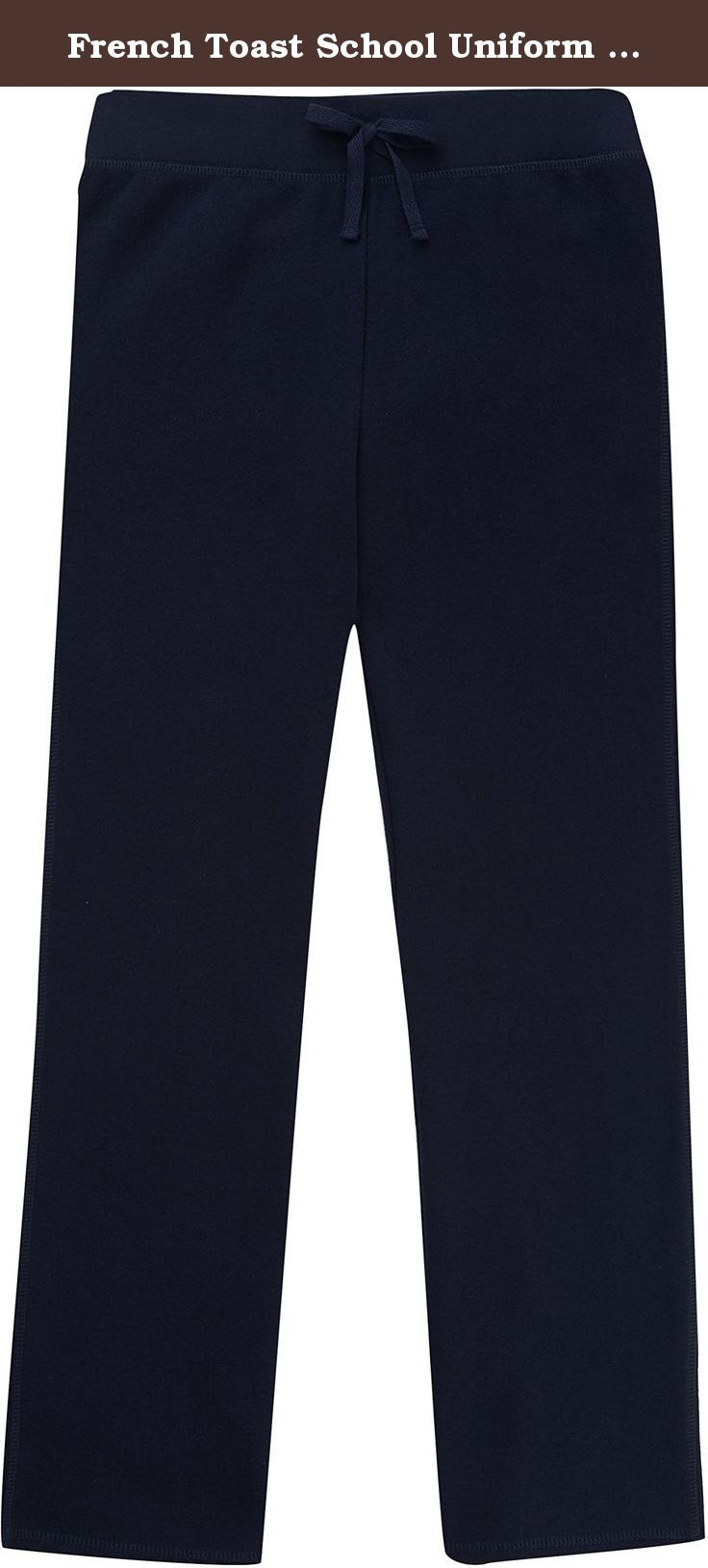 French Toast School Uniform Girls Fleece Sweat Pants, Navy, Large (10/12). RIB WAISTBAND WITH CONCEALED ELASTIC. DECORATIVE NON-FUNCTIONAL BOW. COTTON BLEND FLEECE, 240 GSM.