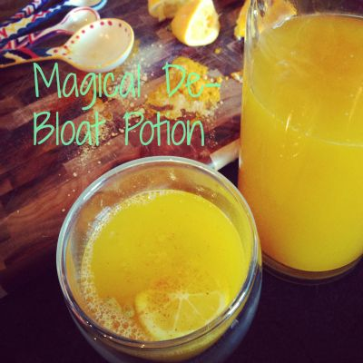 • DE-BLOAT POTION • Boil 32 oz of water in a tea kettle, once it boils remove it from heat and set it aside. Add ½ tbsp turmeric, ½ tbsp ginger, ½ tsp cayenne & 5 tbsp lemon juice to a pitcher or container that holds at least 32 oz of water. Once the water has cooled a bit add it to the pitcher. Give the mixture a good stir and sip on it throughout the day. Add stevia to sweeten it if necessary.