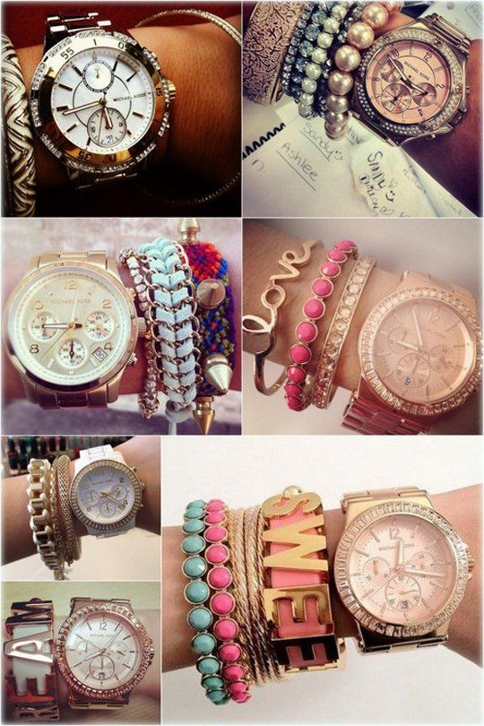 bracelets and watches.: Arm Candy, Fashion, Style, Big Watch, Michael Kors, Armcandy, Arm Candies, Watches