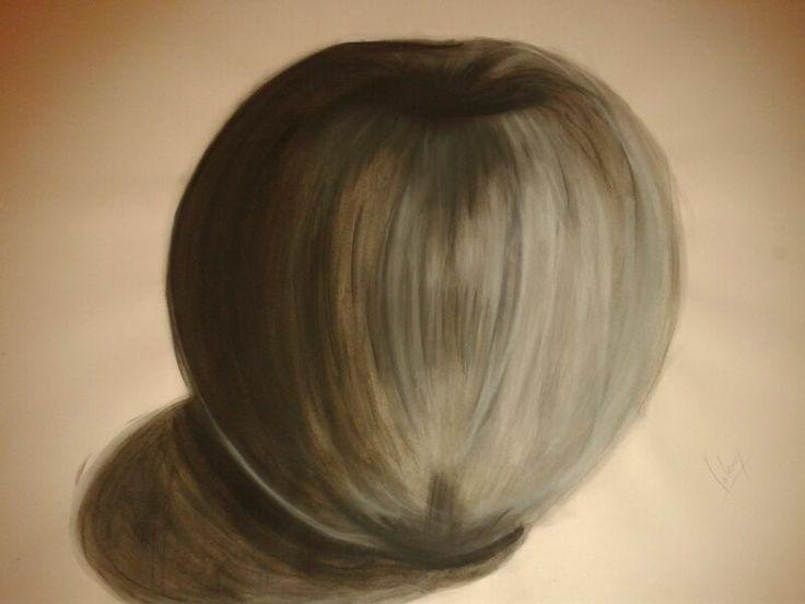 manzana (tinta china y lápiz tiza)