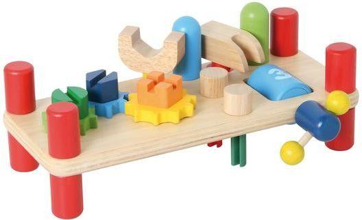 Aus Holz. Beidseitig bespielbar. Mit viel Zubehör: Werkzeug, Schrauben, Nägel, Zahnräder