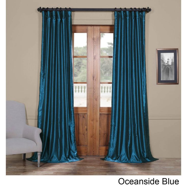 exclusive fabrics vintage textured faux dupioni silk curtain oceanside blue 84l size 84 inches faux silk solid