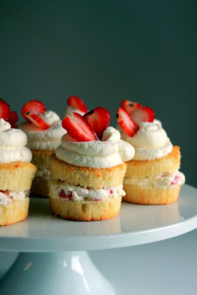 Vanilla Sponge Cakes with whipped cream and strawberries