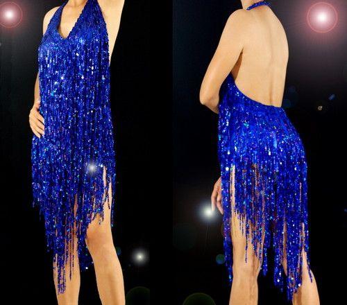Navy Blue Samba Latin Salsa Ballroom Sequin Shiny Fringe Dance Dress Costume   eBay