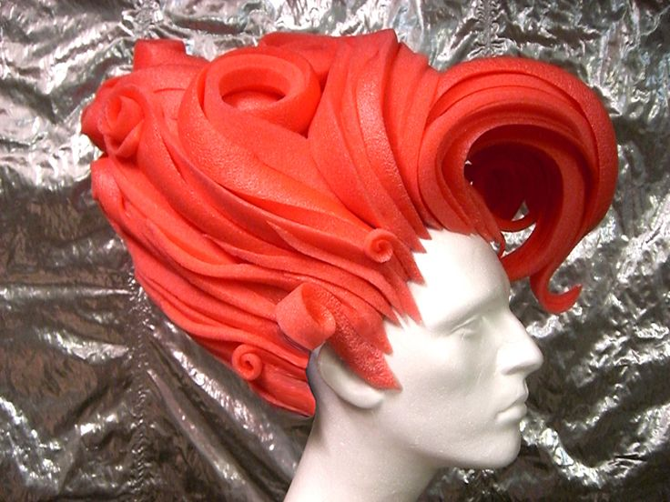 DIY Foam Wig ||||| Wow! I never knew foam could be so beautiful. This would make a great (and I imagine light) Flame Princess wig.