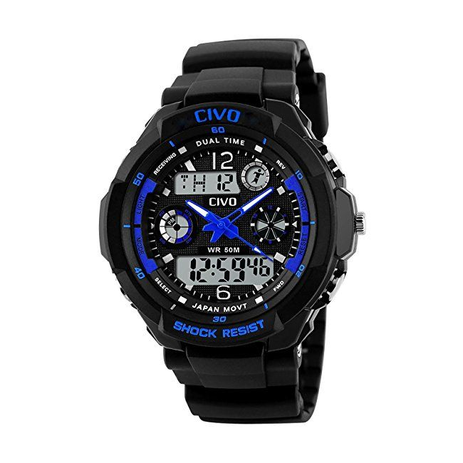 CIVO Mens Boys Digital Watches 50M Electronic Waterproof Military Sports Watch Simple Fashion Design LED Divers Watch for Men Big Face Electronics Light Analogue Digital Wrist Watch Black #boys #watches