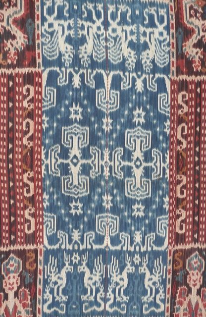 Man's ikat hinggi, detail.   Kambera, Sumba, Indonesia, mid 20th c.