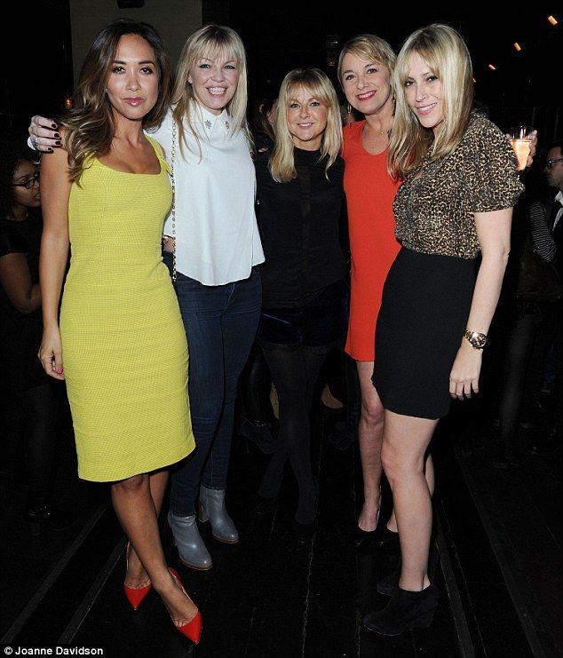 Sarah Hadland (centre) with Myleene Klass, Kate Thornton, Tamzin Outhwaite, Nicole Appleton at opening of Di and Viv and Rose, Jan. 2015