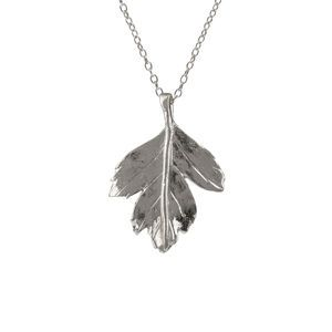 Sterling Silver Hawthorn Leaf Necklace