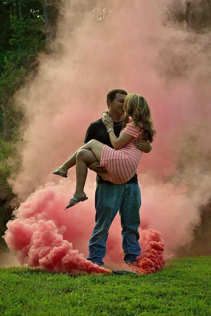 Gender reveal pink or blue or grey for neutral baby announcement..