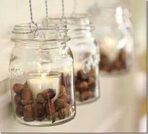 Candles and acorns