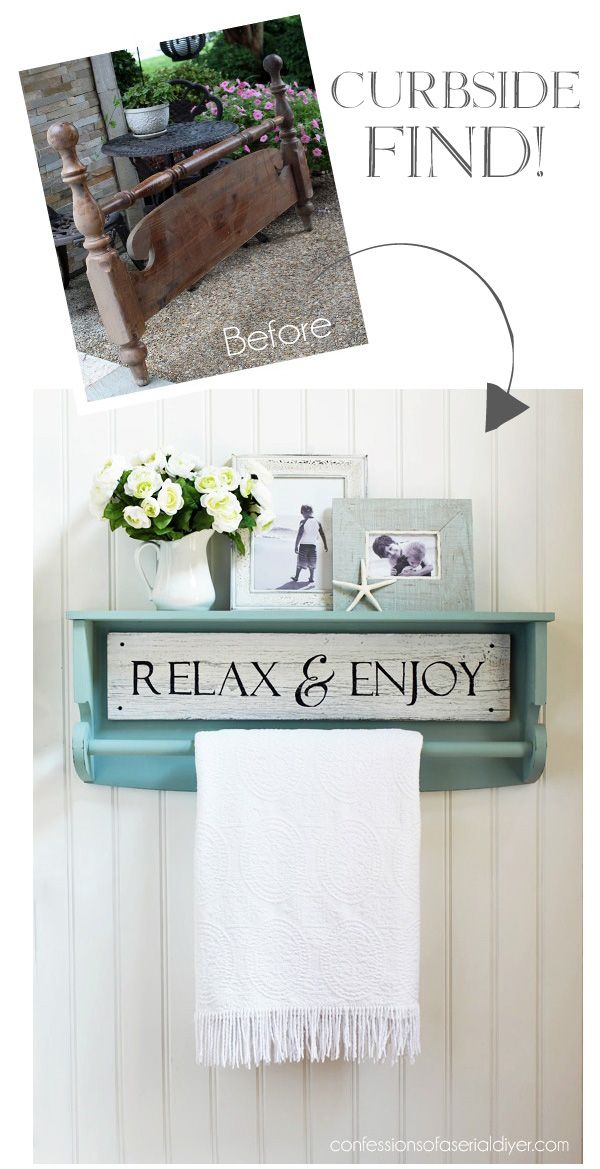 Repurpose an old footboard into a quilt rack from confessionsofaserialdiyer.com