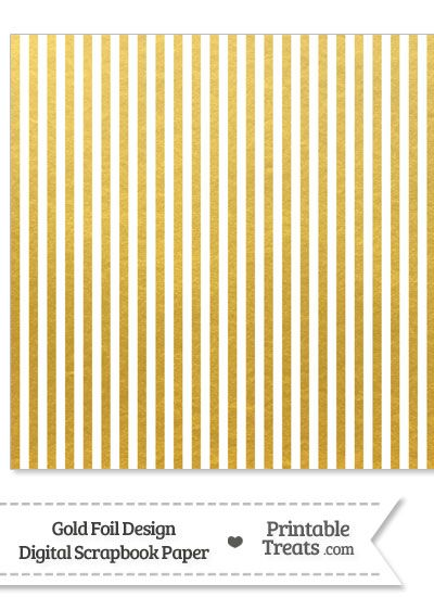 Gold Foil Stripes Digital Scrapbook Paper from PrintableTreats.com