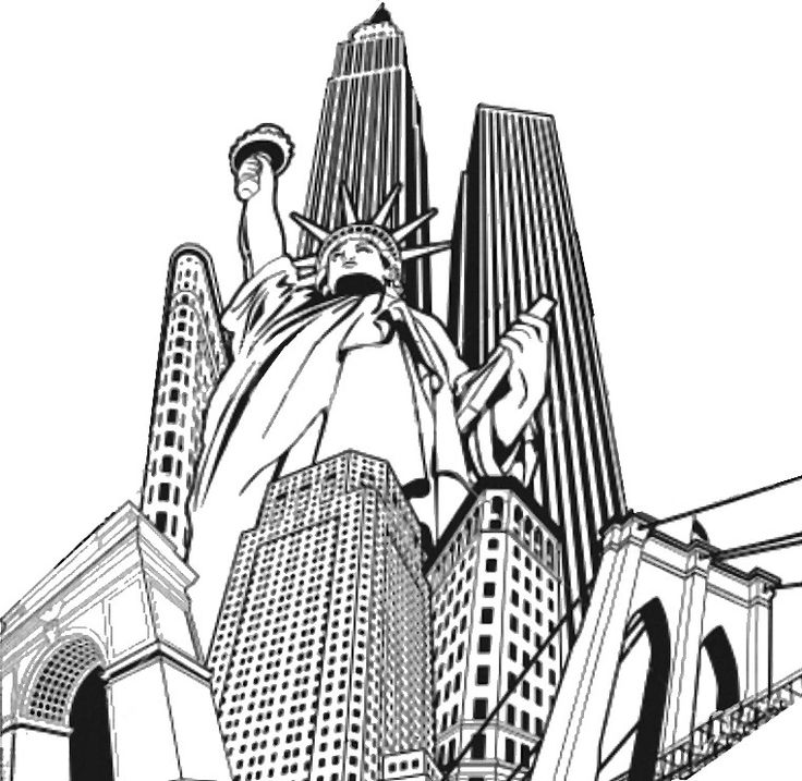 Adult Coloring Page New York Statue Of Liberty And Buildings 3