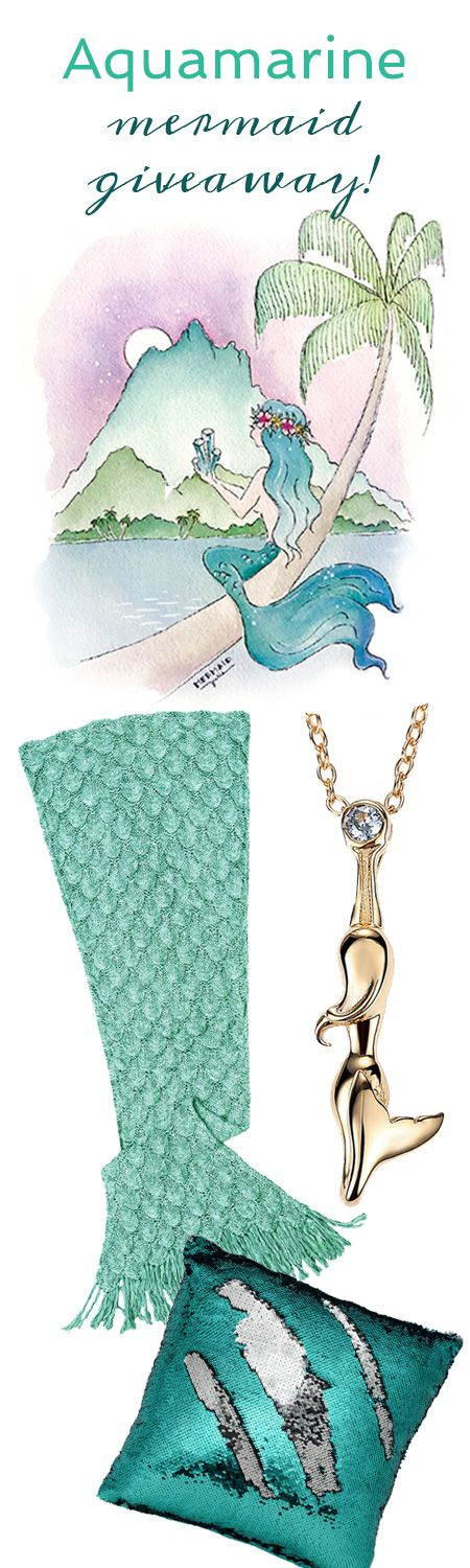 Enter to Win a Luxury Mermaid Pack from Seatail! Luxury Mermaid Tail Blanket, Color-changing Mermaid Pillow Cover, 18K Mermaid Rising Necklace, and Aquamarine Mermaid Print! Winner will be announced March 21, 2017 ~ Enter Now!
