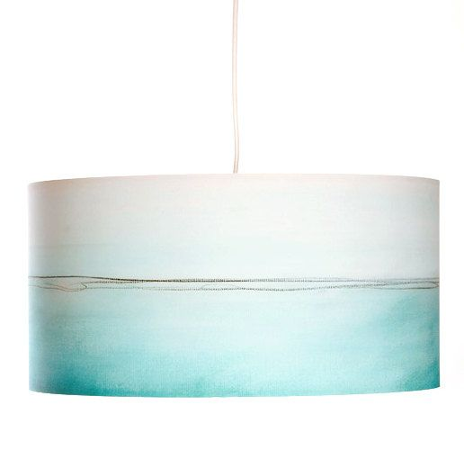 Aqua Lines drum shade pendant lamp. Giclee reproduction of Rowan Chase Artwork printed on 100% cotton watercolor paper,