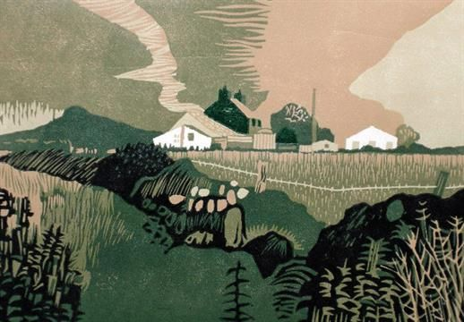 John Stops R.W.A (20th Century), Farm Near St David`s, Wales, linocut, signed and numbered 15/17,