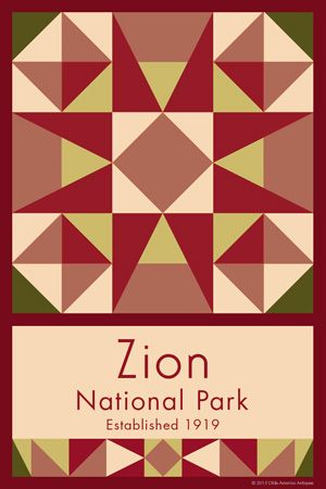 Zion National Park Quilt Block designed by Susan Davis. Susan is the owner of Olde America Antiques and American Quilt Blocks She has created unique quilt block designs to celebrate the National Park Service Centennial in 2016. These are the first quilt blocks designed specifically for America's national parks and are new to the quilting hobby. OldeAmericaAntiques.com and AmericanQuiltBlock.com