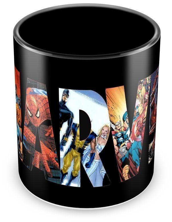 Caneca Personalizada Porcelana Marvel (Preta) - Canecas Personalizadas para Todas as Ocasiões!