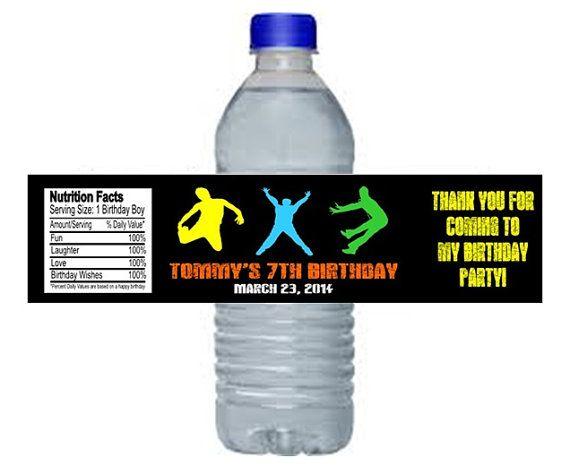 Jump+Trampoline+Birthday+Party+Water+Bottle+by+CustomWrappers4U,+$4.25