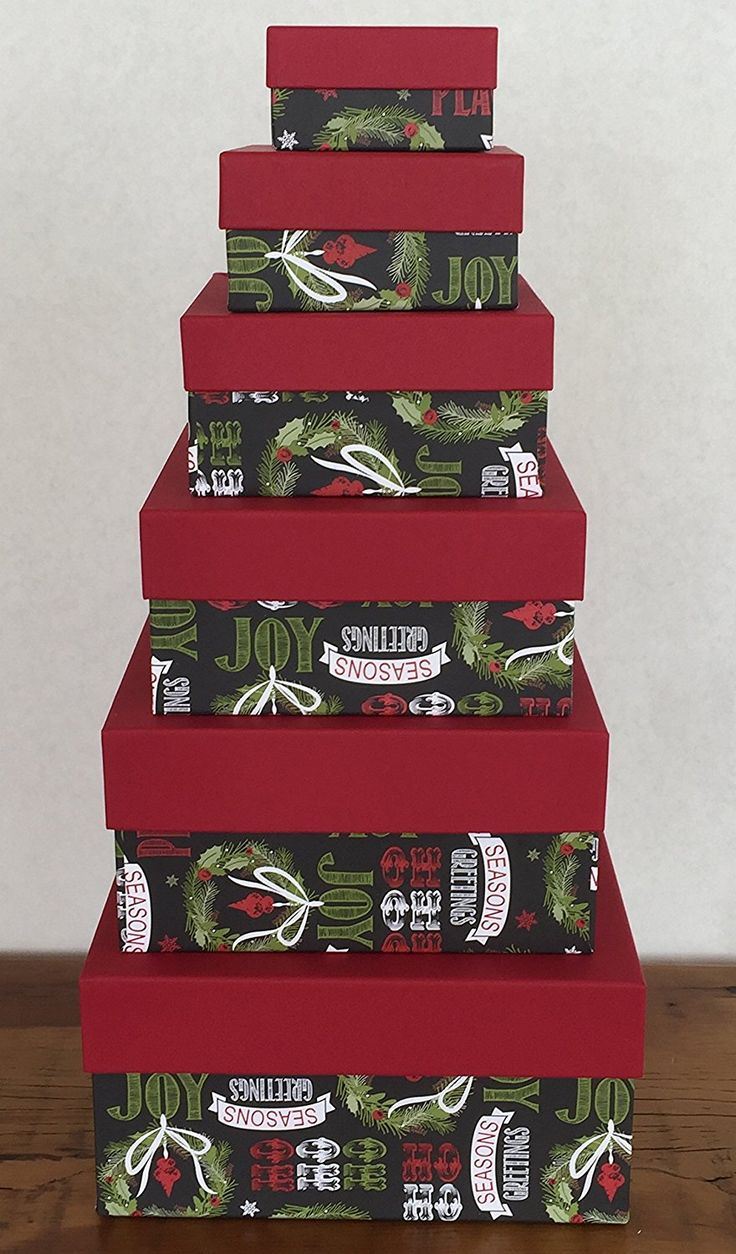 Christmas Nested Gift Box Tower, Set/6, Black Chalkboard Greetings *** Be sure to check out this awesome product.