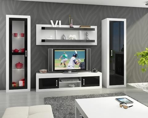 Living Room Furniture Set 4 ''Verin'' including: TV Cabinet, Storage Unit,  Wall…
