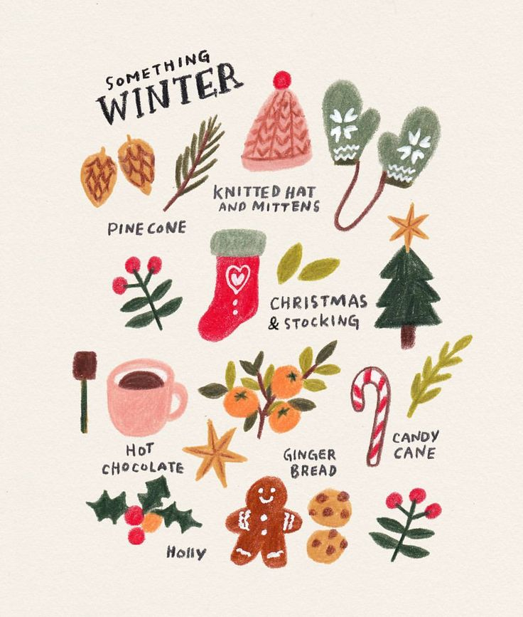"""Annelies 아넬리스 (@anneliesdraws) on Instagram: """"Some winter things I drew today Winter is my favourite season and I'm enjoying the cold, but…"""""""