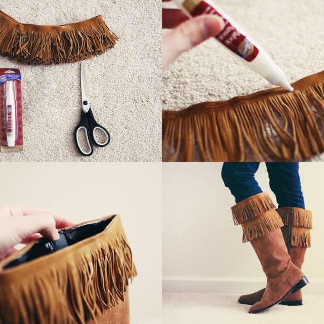 diy fringe boots for my pocahontas outfit costume pinterest flache schuhe stiefel und fransen. Black Bedroom Furniture Sets. Home Design Ideas