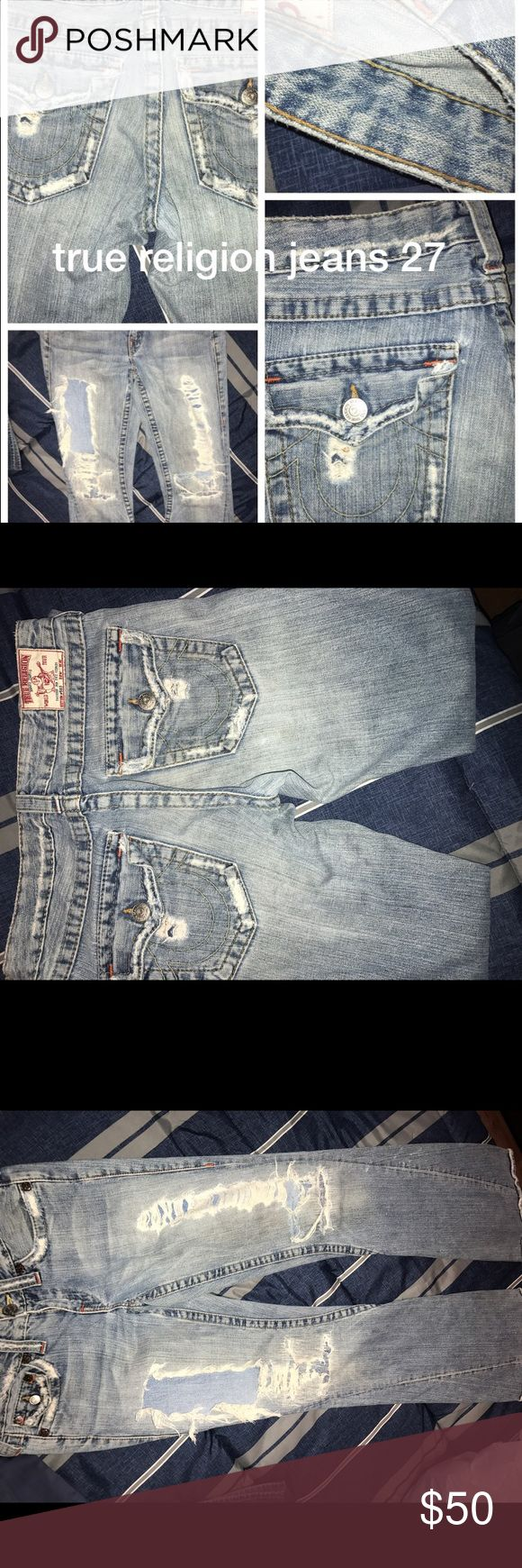 True religion Jeans Denim distress raw true religion vintage jeans size 27 True Religion Jeans Skinny
