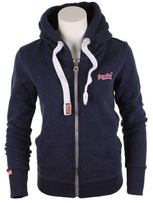 This Superdry Womens Orange Label Hoody in Navy with Pink Superdry Embroidery Logo features a full zip closure,drawcord hood and classic Superdry branding tab on the sleeve.Two front pockets complete the look.