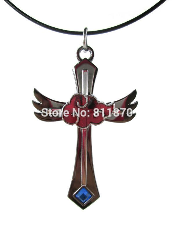 Наруто Косплей Орочимару Акацуки Хидан Сасори Красное Облако Логотип Крест Кулон Ожерелье Ожерелье С Голубой Горный Хрусталь