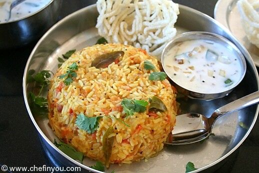 Thakkali Sadam (Tomato Rice Bath) : A South Indian version of Tomato Rice. Mildly spiced and tempered with southern spices, its quick and extremely easy to put together