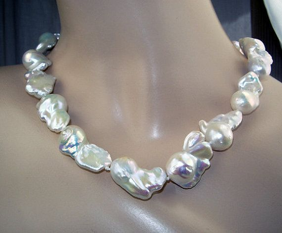 Nucleated Baroque Pearl Necklace Freshwater by DoolittleJewelry, $1475.00