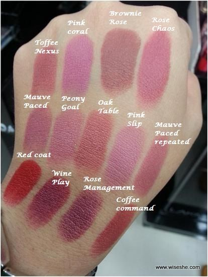 Lakme-9to5-The-Office-Stylist-Range-Lipstick-Swatchs+lipstick-shades