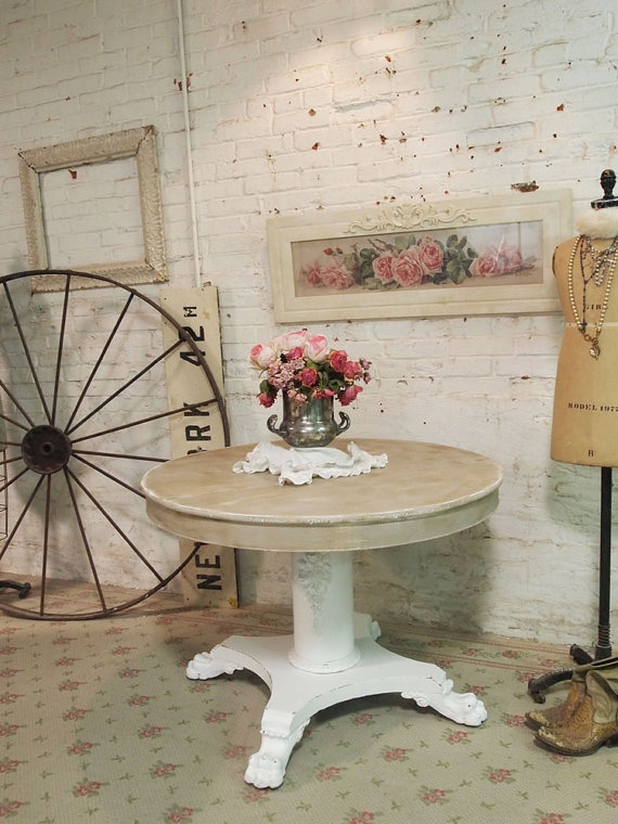 Painted Cottage Chic Shabby White French Dining By Paintedcottages, $325.00