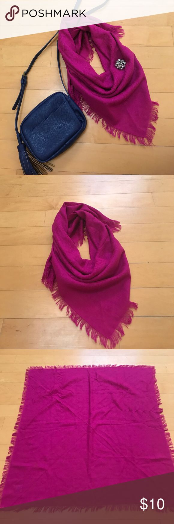"""Vintage Magenta Fringed Scarf I'm not sure exactly how old this is, but it was found in my grandmother's closet and she said she'd had it for """"awhile."""" My guess is it's from the 80s. Beautiful, bold color that is a fun accent. I loved pairing this with navy. 31"""" square, including the fringed edges. There are a couple of snags in the material, but not noticeable when it's worn. 100% acrylic material that's not too heavy or too light. It has a subtle woven checker board pattern. Vintage…"""