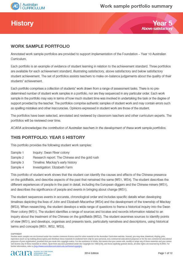 Year 5 History work sample portfolio - above satisfactory