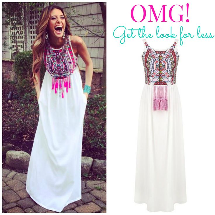 Candace - Embroidered aztec maxi dress with tassle detail