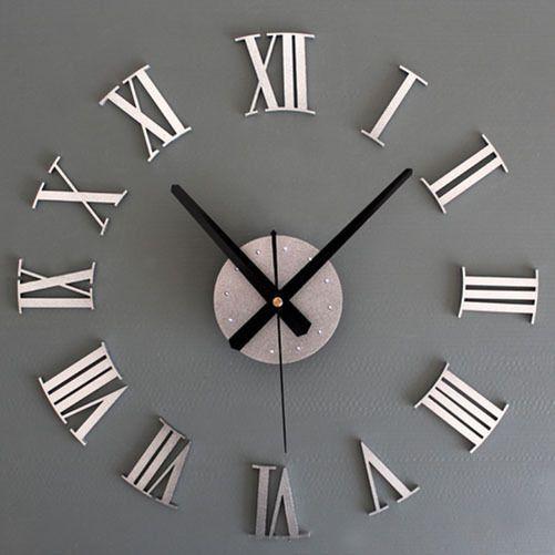 Metal Diy Silver Vintage Roman Numeral Number Frameless Wall Clock 3D Room