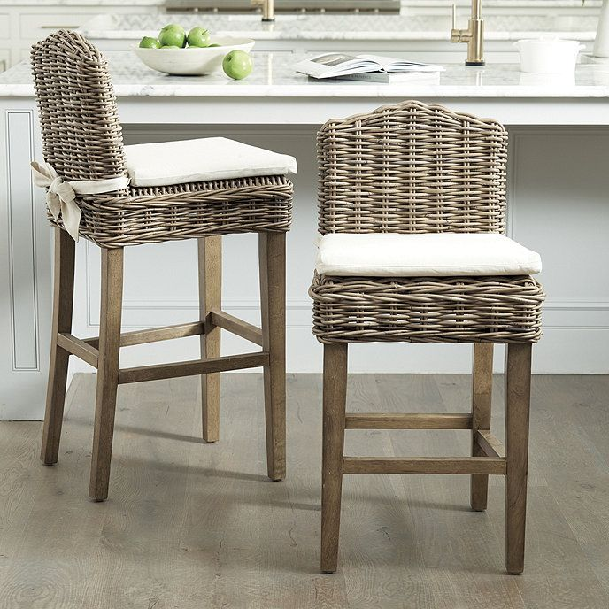 Rosalind Washed Gray Wicker Bar Stool Ballard Designs On Sale