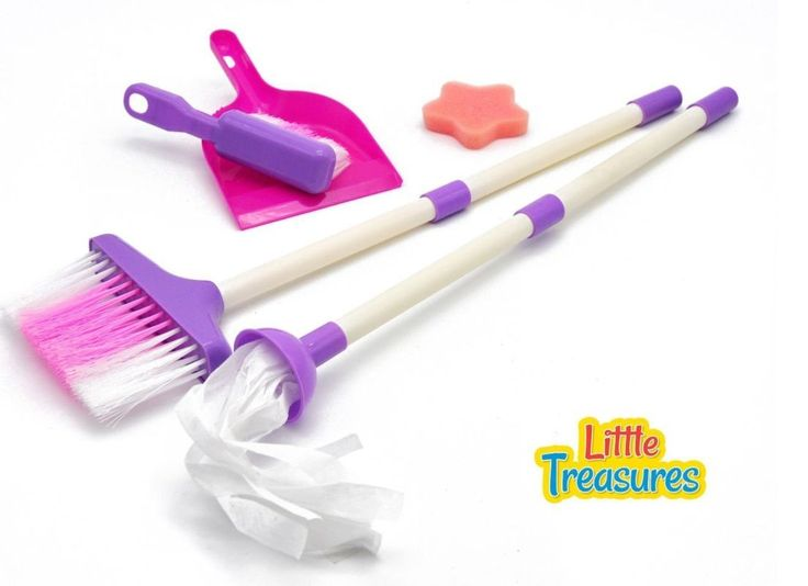 Kids Cleaning Set for Toddlers Girls Broom and Dustpan Mops for Kids Sponge Toy