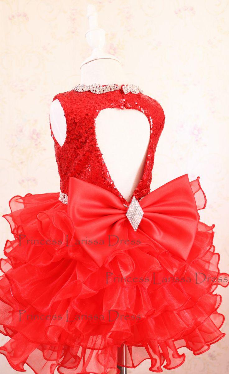 Brillo rojo vestido del desfile vestido de la semana Santa