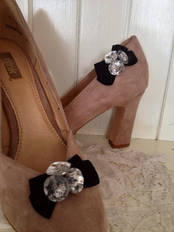 Black bow and diamante shapes shoe clips by DesignedbyDivas, $24.95