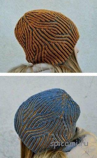 вязаная шапка сердца в голове
