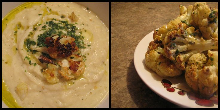 Cauliflower 2 ways. Roasted and puree'd with garlic and basil oil plus creamy cauliflower with non dairy cheese sauce. A great dish to keep you warm through the season.